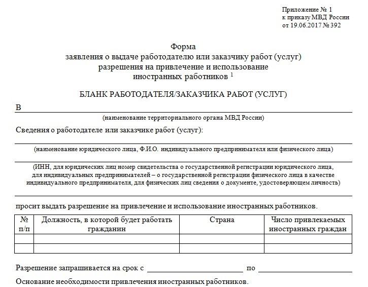 Разрешение на привлечение иностранных работников